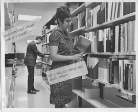 Library. Margot Allingham; Librarian and Gerry Weeks
