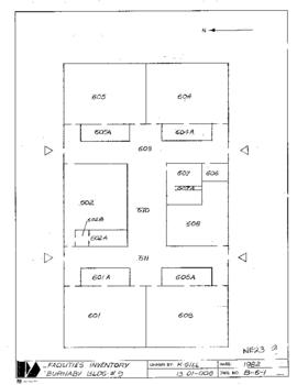 NE23, Facilities inventory Burnaby Bldg. no. 9, floor plan,1982