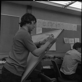 BC Vocational School drafting course ; drafting student drawing a diagram [4 of 11]