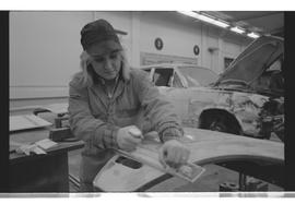 Autobody, PVI Maple Ridge, Women in the Trades, woman using plane