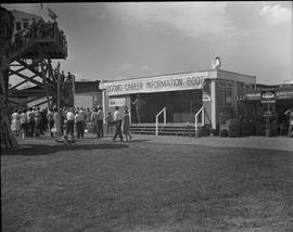Logging, 1967; Logging Career Information Booth at the Vancouver PNE ; people in front of the bui...