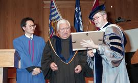 Robert (Bob) George receiving an Honorary Doctorate of Technology; Elder Advisor, BCIT [4 of 19 p...