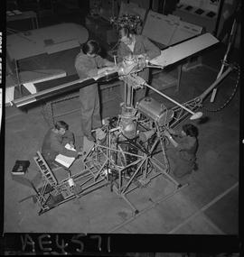 BC Vocational School; Aeronautics students working on a helicopter in the hangar in Burnaby [3 of...