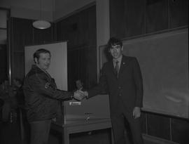 Heavy Duty Mechanics presentation of a tool box from apprenticeship guild to a student, 1971