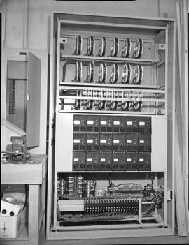 British Columbia Institute of Technology Broadcasting ; 1960s ; inside of an audio input/output c...