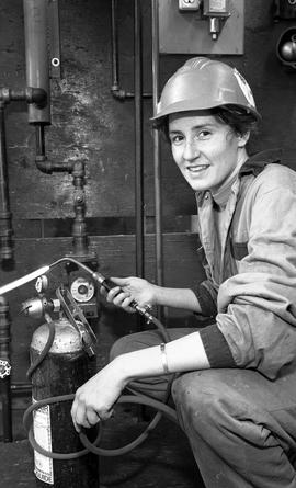 BCIT Women in Trades; plumbing, Megan with welding torch, February 1994 [5 of 5 photographs]