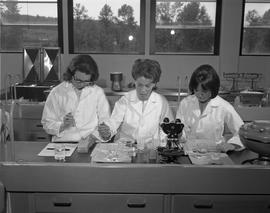 Medical Lab; three women in lab coats sitting at a desk working in a lab ; various types of equip...