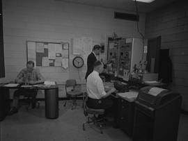 BCIT Broadcast and Television, 1964, CKWX; three men working in a control room [3 of 3]