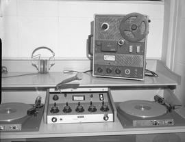 British Columbia Institute of Technology Broadcasting ; 1960s ; a set up for a radio broadcaster ...