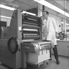 BCVS Graphic arts ; man using a printing machine