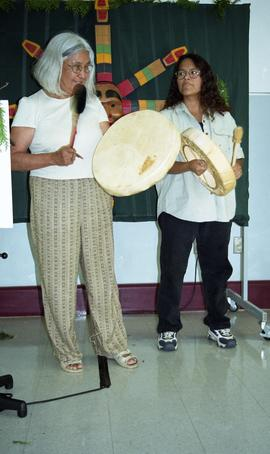 "First Nations ""Honoring Our Heritage"" event, First Nations people playing instruments [..."