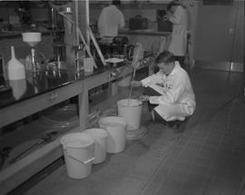 Forest Products, 1966; man in a lab coat testing liquid in a bucket on the floor ; more people an...