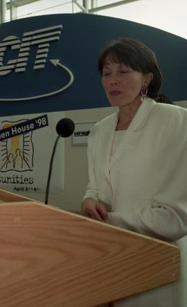 BCIT open house '98, First Nations woman giving a speech on stage