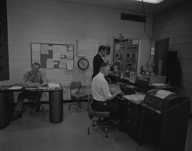 BCIT Broadcast and Television, 1964, CKWX; three men working in a control room [1 of 3]