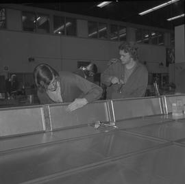 Sheet metal, 1968; students working on sheet metal projects