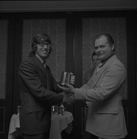 Hockey presentation, Plaza 500, 1972; player receiving the P.I.H.L. All Star award team 1971-1972...