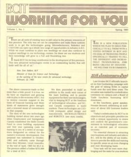 BCIT Working For You, vol. 1, no. 1, Spring 1985