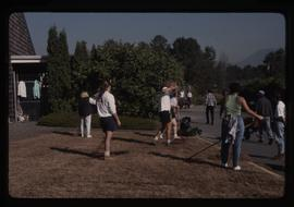 Horticulture 1990, students with rakes