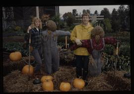 Horticulture 1989, students with pumpkins and scarecrows [2 of 2 photographs]