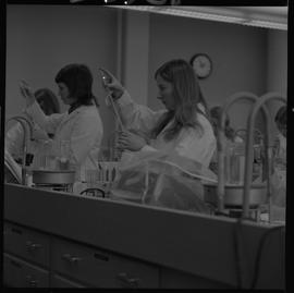 Medical laboratory technology, 1968; students working in a medical lab [9 of 11]