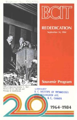 BCIT Rededication: Souvenir program BCIT 20th Anniversary, September 14, 1984
