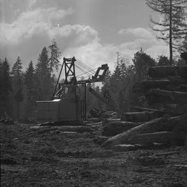 Logging Loading, Nanaimo, 1968; a log lifter moving logs ; large pile of logs