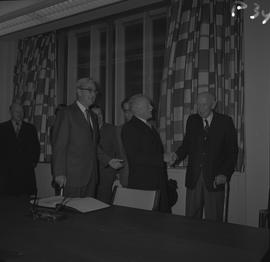 Dean H. Goard, Principal; Governor General the Right Honourable Roland Michener shaking hands wit...