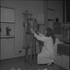 Medical radiography, 1968; woman in a lab coat kneeling next to a manikin torso and positioning i...