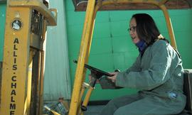 BCIT women in trades; forklift training, students driving a forklift [15 of 15 photographs]