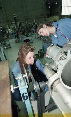 BCIT women in trades; aviation, female students working on aviation equipment inside a hangar [2 ...