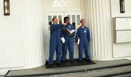 Aviation, students in uniforms holding books while standing outside a BCIT building [2 of 10 phot...