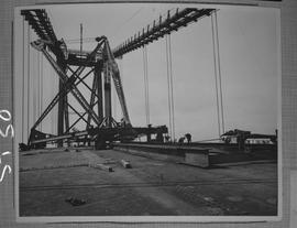 Structural steel; construction workers working on A. Murray Mackay bridge connecting Halifax and ...