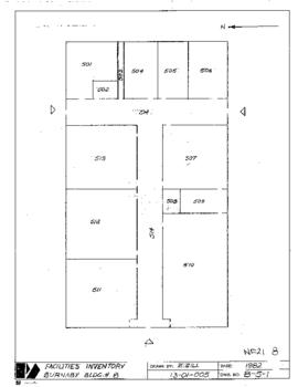 NE21, Facilities inventory Burnaby Bldg. no. 8, floor plan, 1982