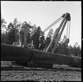 Heavy duty equipment operator, Nanaimo ; man standing on a pipe ; pipelayer lifting a large pipe ...