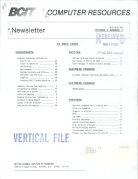 BCIT Computer Resources Newsletter, vol.5, no.3, 1987-03-02