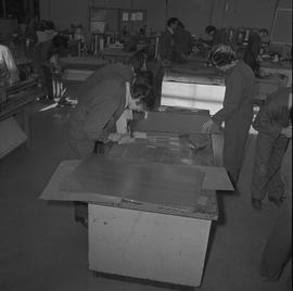 Sheet metal, 1968; classroom of students working in the sheet metal shop [2 of 3]
