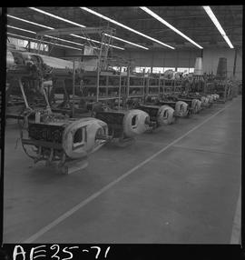 British Columbia Vocational School image of aircraft engines in the hangar [1 of 2 photographs]