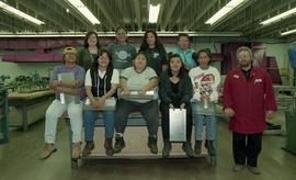 Pre-trade Aboriginal women; sheet metal, group shot of students and instructor [7 of 12 photographs]