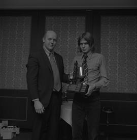 Hockey presentation, Plaza 500, 1972; player receiving the Pacific Inter-Collegiate Hockey League...
