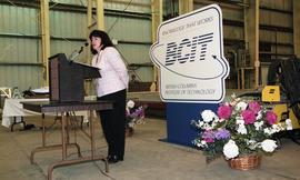 Graduation ceremony for the first class of BCIT women welders, woman giving speech to audience [3...