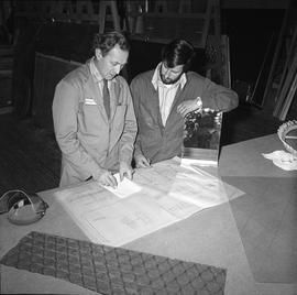 BCVS Glazier program ; two men looking at blueprints [2 of 3]
