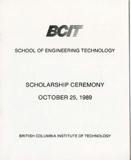 BCIT School of Engineering Technology, Scholarship ceremony; October 25, 1989, program