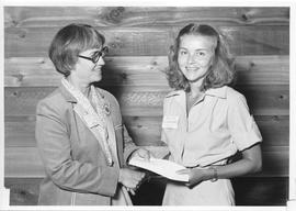 Alumni Awards, 1979, event photograph; recipient Alice Gibbons, award presented by Margaret Neyla...
