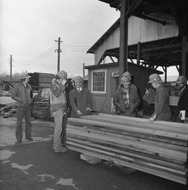 BCIT Programs Forest Products Technology ; instructor and students standing next to wood boards [...