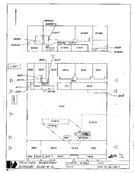 NE12 Facilities inventory Burnaby Bldg. no. 12, floor plan, ca. 1982