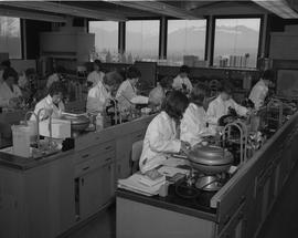 Medical Lab; students in lab coats working in a medical lab [1 of 2]