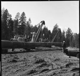 Heavy duty equipment operator, Nanaimo ; man standing on a pipe ; two pipelayers lifting a large ...