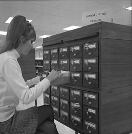 BCIT Library ; close up of woman looking through card catalogue