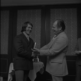 Hockey presentation, Plaza 500, 1972; player receiving an award [1 of 4]