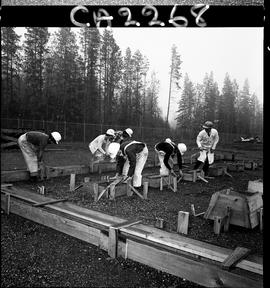 B.C. Vocational School; Carpentry Trades students building foundation forms with instructor (1 of 6)